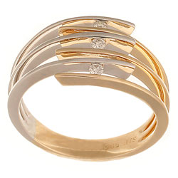 14K yellow and white gold ring with triple split wire shoulders