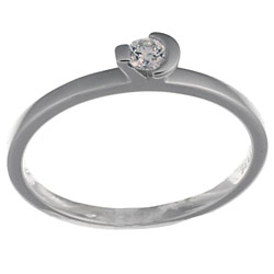 14K white gold solitaire set with brilliant cut diamond